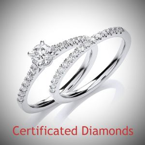 0.60ct Total Diamond Weight Round Brilliant Cut Diamond Ring Bridal Set in 18ct White Gold